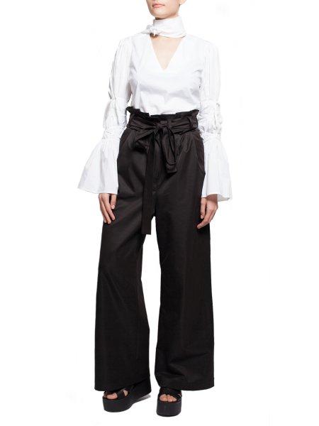High-Waist Flared Black Trousers