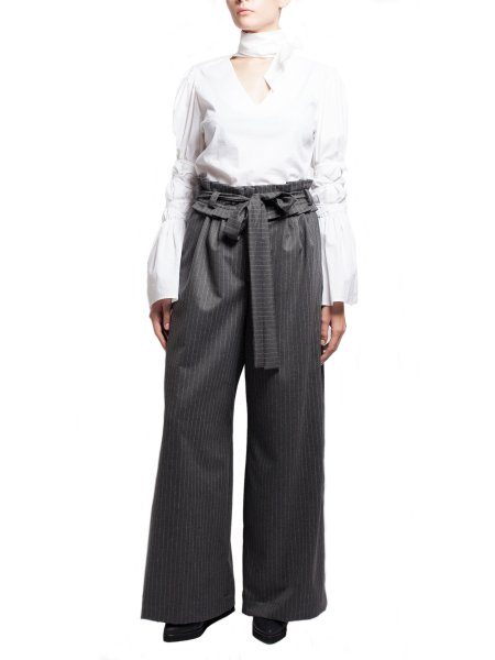 High-Waist Flared GreyTrousers