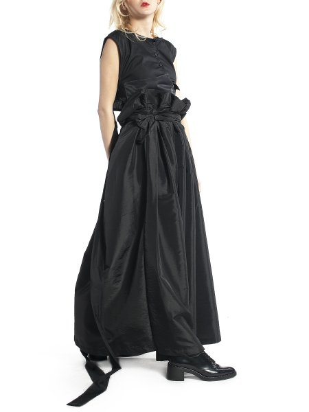 High Waisted Long Black Skirt
