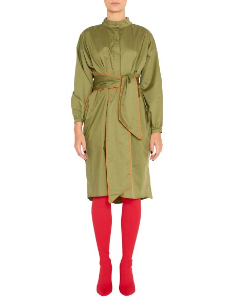 Khaki Cotton Dress with Belt