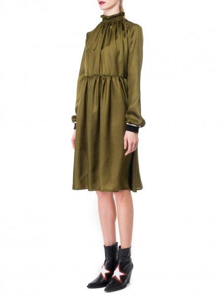 Khaki High Neck Silk Dress