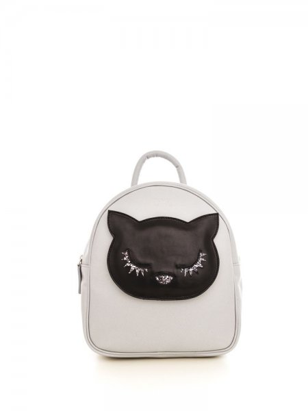 Light Grey Ami Backpack with Black Kitty