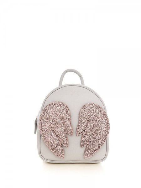 Light Grey Ami Backpack with Pink Wings