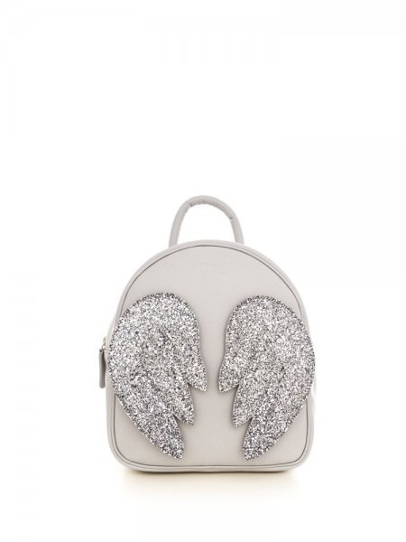 Light Grey Ami Backpack with Silver Wings
