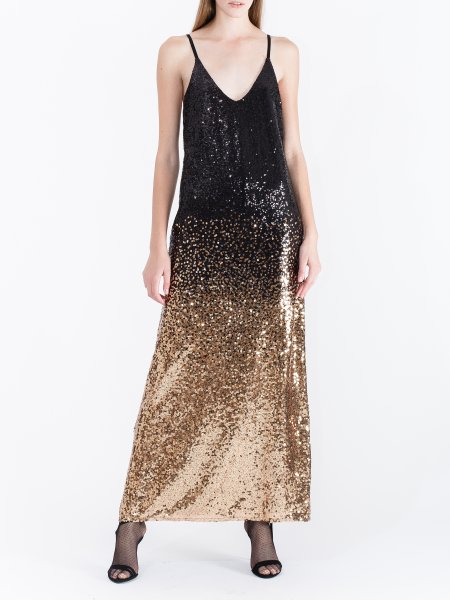 Long Black Copper Degrade Sequin Dress