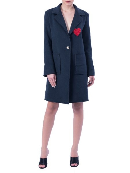 Navy Wool Coat With Embellished Heart Panel