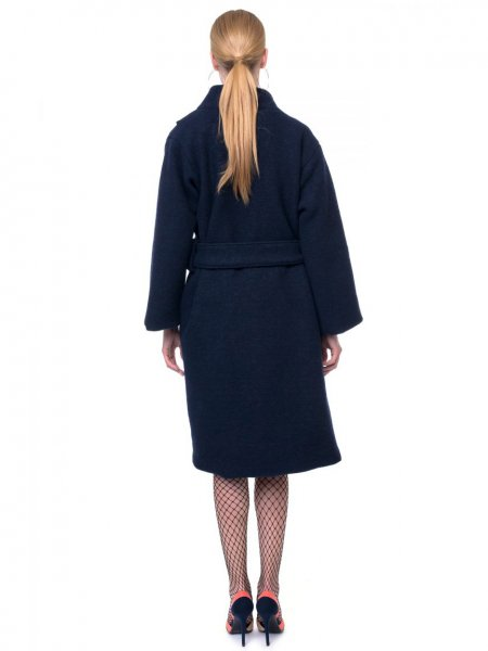 Navy Wrap Front Wool Coat