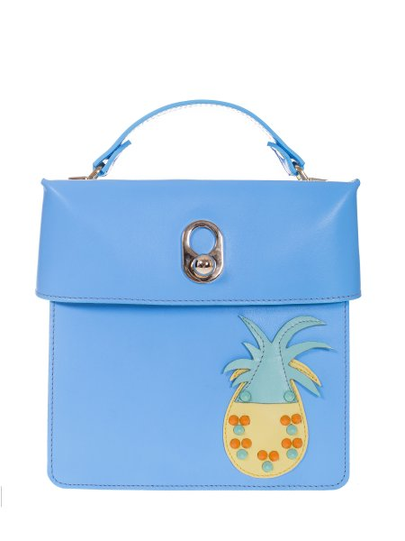 Pineapple Blue Leather  Bag