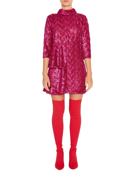 Pink Sequined Dress with Ruffles