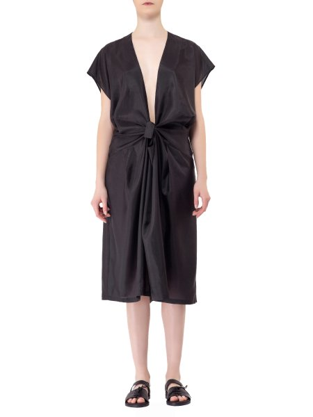 Plunged V-Neck Silk Dress