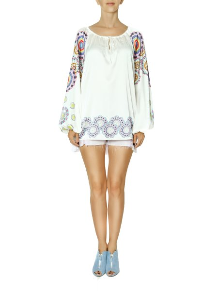 Printed Silk Blouse with Bell Sleeves