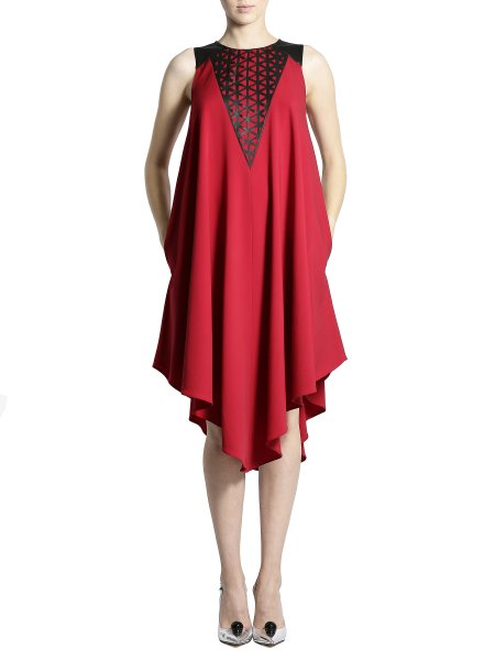 Red Laser Cut Dress With an Open Back