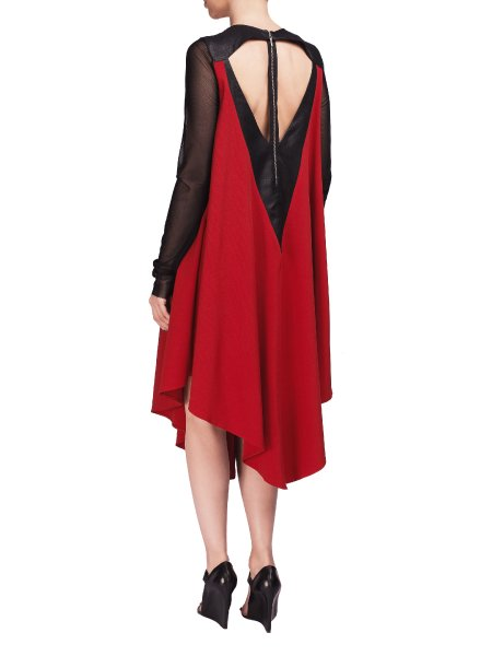 Red Laser Cut Dress With Tulle Sleeves