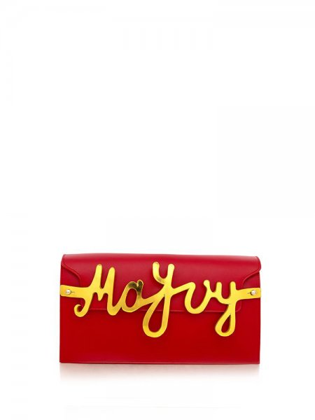 Red Nappa Clutch with Letters Detail