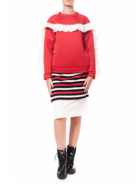 Red Neoprene Sweatshirt With Ruffles