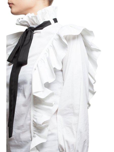 Ruffled Cotton White Shirt