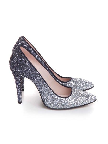 Silver Glitter Stiletto Shoes