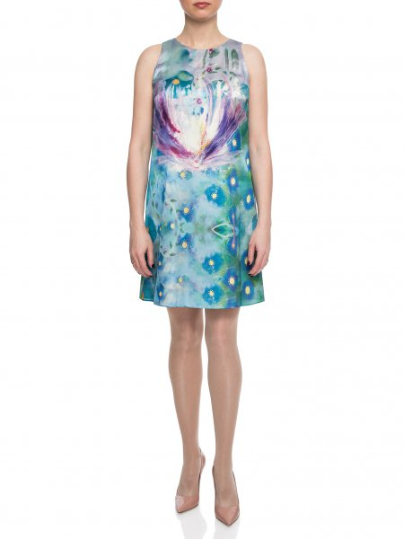 Sleeveless Printed Silk Dress