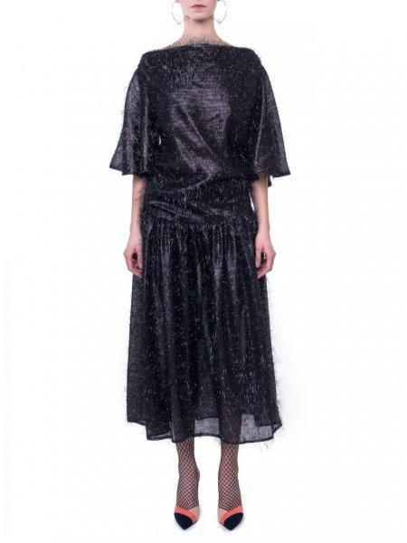 Taffeta Midi Dress With Ruffle Sleeve