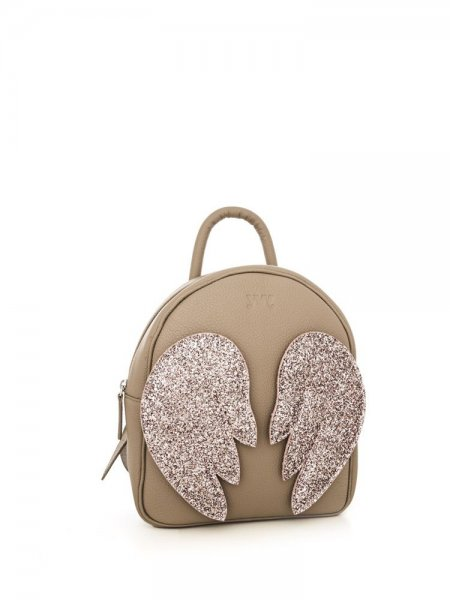 Taupe Ami Backpack with Pink Wings