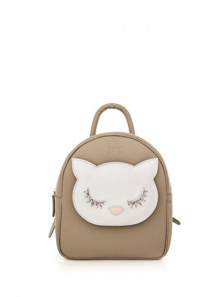 Taupe Ami Backpack with White Kitty