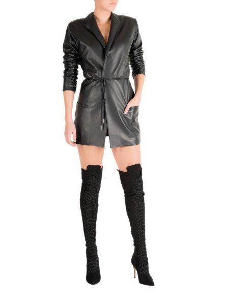 V-Neck Leather Jacket