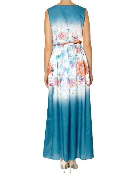 V-Neck Printed Silk Dress