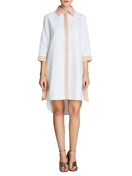 White Asymmetric Cotton Dress