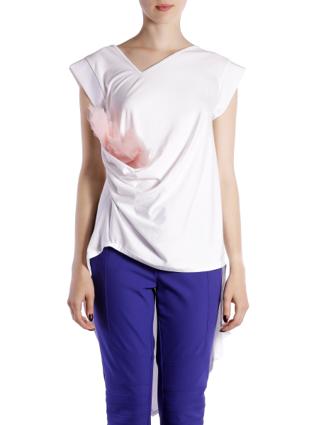 White Asymmetric Cotton T-shirt