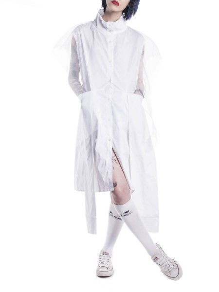 White Asymmetric Shirt Dress With Pockets