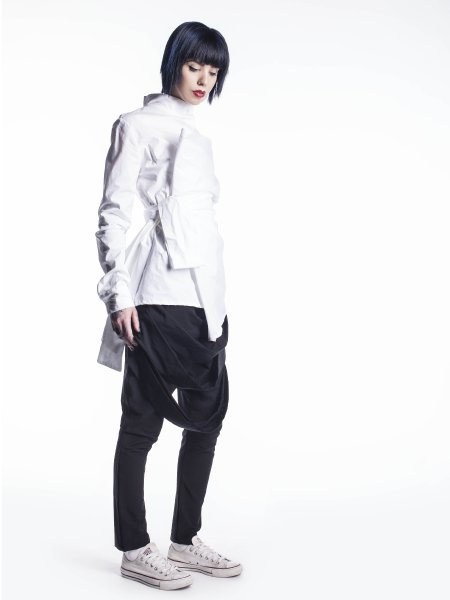 White Asymmetric Shirt With Structured Shoulder