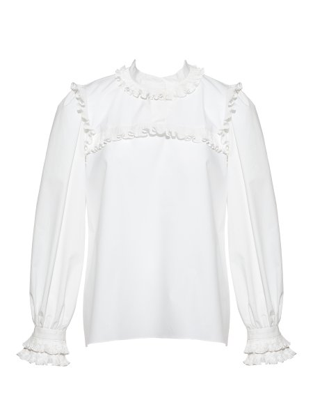 White Cotton Shirt with Ruffles