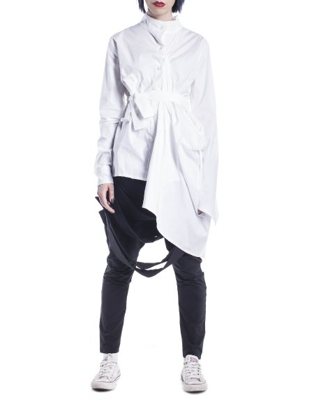 White Cotton Shirt With Waist Belt