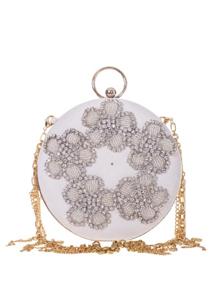 White Embellished Clutch