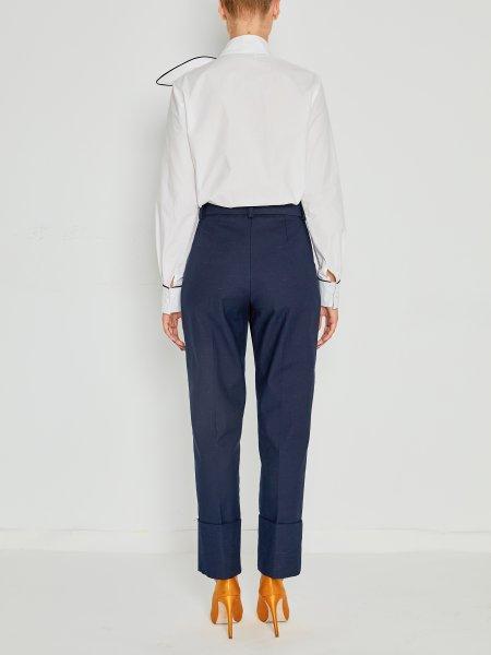 White Poplin Shirt with Oversized Detail