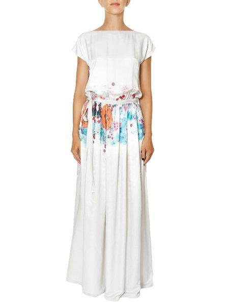 White Printed Silk Maxi Dress