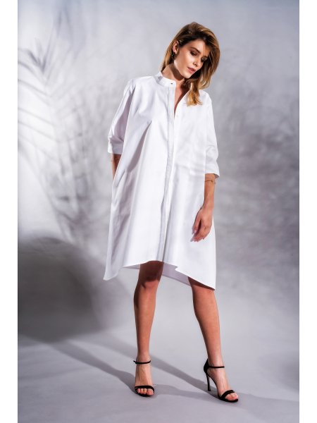 White Relaxed Fit Shirt Dress