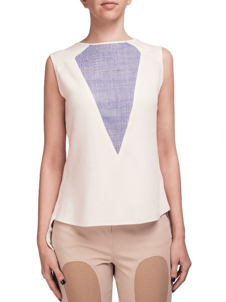 White Sleeveles Viscose Top