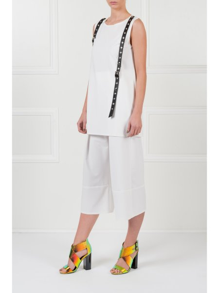 White Sleeveless Top With Leather Insertions