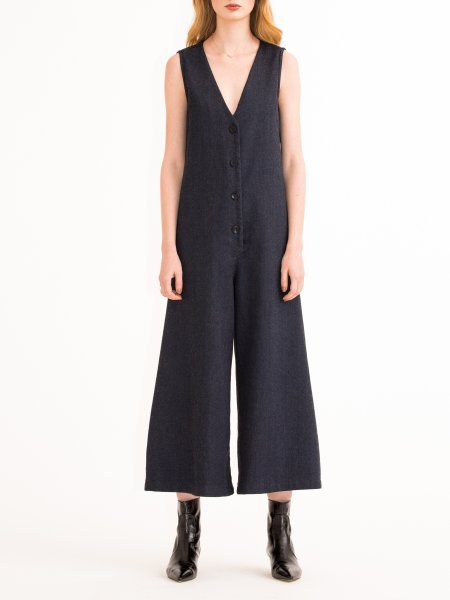 Wool Denim Jumpsuit