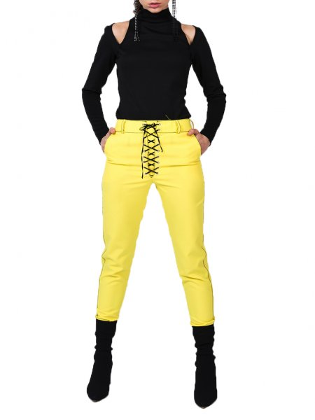 Yellow Lace Up Trousers