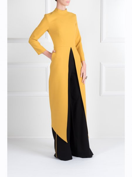 Yellow Long Top with Front Slit